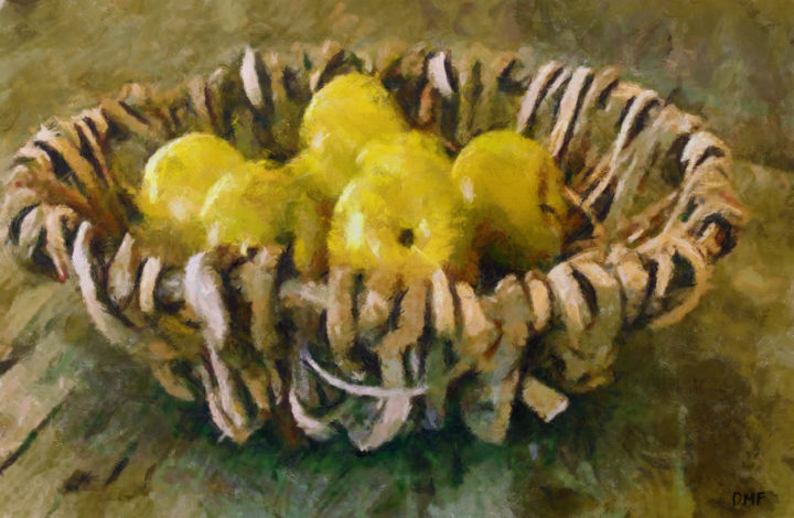 """Painting titled """"A Basket With Yello…"""" by Dragica Micki Fortuna, Original Art, Oil"""