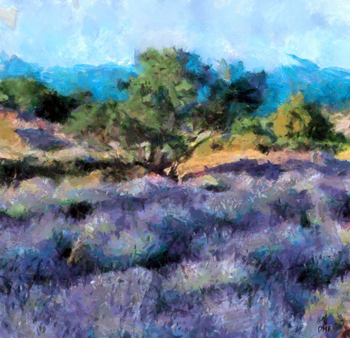 """Painting titled """"Lavender Field By T…"""" by Dragica Micki Fortuna, Original Art, Oil"""