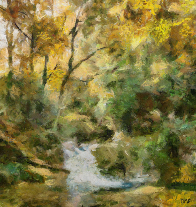 """Painting titled """"Forest Steam in Aut…"""" by Dragica Micki Fortuna, Original Art, Oil"""