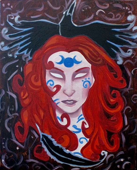 """Painting titled """"The Morrigan"""" by Sliver Moon Designs, Original Art, Oil"""