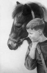 """Drawing titled """"Justin and """"Paint"""""""" by Sherrie Kostura, Original Art,"""