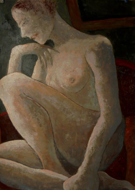 """Painting titled """"Nude in Room 2"""" by Sloba Pajkovic, Original Art, Oil"""