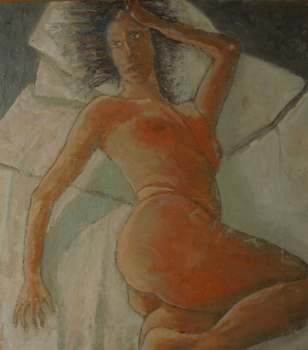 """Painting titled """"Nude in Room 3"""" by Sloba Pajkovic, Original Art, Oil"""