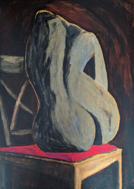 """Painting titled """"Nude in Room"""" by Sloba Pajkovic, Original Art, Acrylic"""