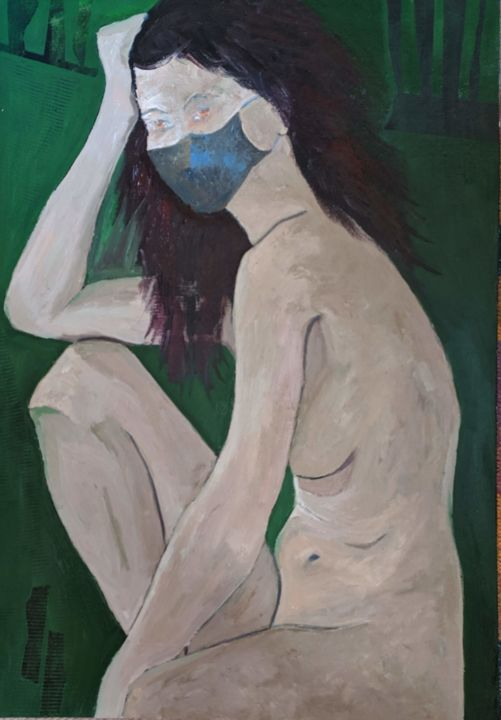 """Painting titled """"Nude with Mask"""" by Sloba Pajkovic, Original Art, Oil"""