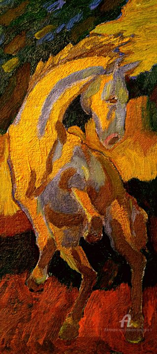 Le chevale d'or - Painting,  45.5x25.5 cm ©2017 by Spaki -                                                            Fauvism, Fabric, Animals, le chevale, le soteur, le mouvement, couleur, l'or, art, figurative, fovisme