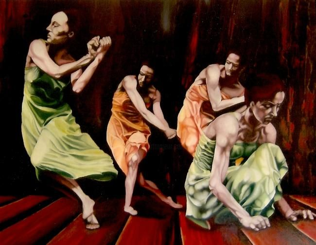 DANSE TRIBALE - Painting,  65x80 cm ©1996 by Isabelle Smadja -
