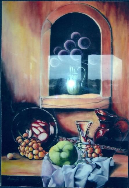 Nature morte - Painting,  76.5x57 cm ©1993 by Isabelle Smadja -
