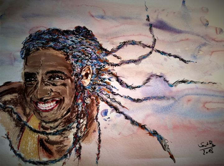 Than I started....winning - Painting,  21.7x27.6 in, ©2018 by Benny Smet -                                                                                                                                                                                                                                                                                                                                                                                                                                                                                                                                                                                          Expressionism, expressionism-591, Celebrity, People, Portraits, Sports, pastel, watercolors, nafi thiam, zevenkamp, sport, winnen