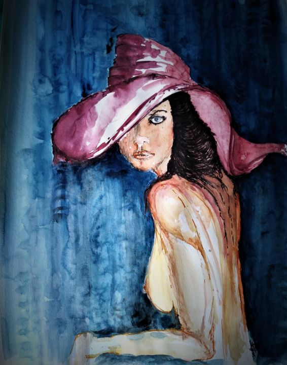 Never can say goodbye - Painting,  27.6x21.7x0.1 in, ©2018 by Benny Smet -                                                                                                                                                                                                                                                                                                                                                                                                                                                                                                                                                                                                                                      Expressionism, expressionism-591, Erotic, Body, People, Nude, Portraits, watercolors, woman, hat, seducive, staring, art