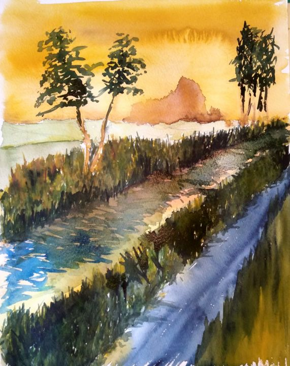 Down by the river.... - Painting,  40x30x0.2 cm ©2018 by Benny Smet -                                                                                                                                                                                    Expressionism, Figurative Art, Contemporary painting, Impressionism, Folk, Realism, Paper, Architecture, Tree, Landscape, Nature, Places, Water, watercolours, river, town, trees