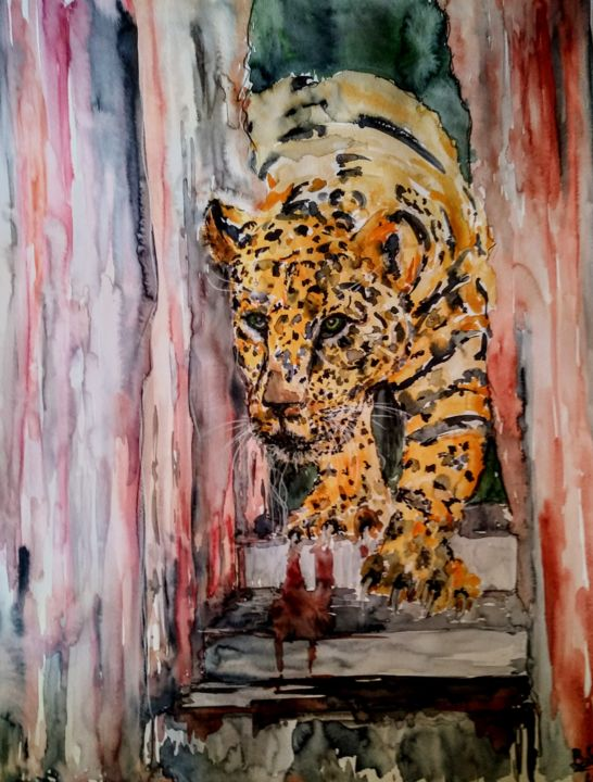 CEO enter's the boardroom... - Painting,  65x50x0.2 cm ©2018 by Benny Smet -                                                                                                                                                Abstract Art, Expressionism, Figurative Art, Contemporary painting, Impressionism, Folk, Realism, Paper, Abstract Art, Animals, Watercolours, original, animal, wild, art, jaguar