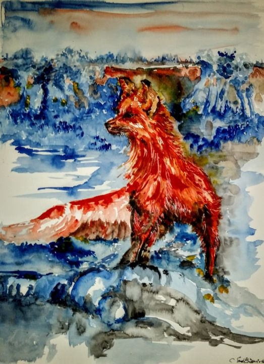 out here in the fields... - Painting,  25.6x19.7x0.1 in, ©2019 by Benny Smet -                                                                                                                                                                                                                                                                                                                                                                                                                                                                                                                                                                                                                                      Abstract, abstract-570, Abstract Art, Tree, Animals, Landscape, Nature, watercolor, original, art, winter, fox, ice