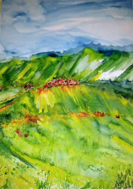 Monti Sibillini III - Painting,  31.5x23.6 in, ©2019 by Benny Smet -                                                                                                                                                                                                                                                                                                                                                                                                                                                                                                                                                                                                                                                                                                                                                                                                                                                                  Abstract, abstract-570, Abstract Art, Mountainscape, Landscape, Nature, Travel, watercolor, art, original, yellow, green, national parc, Monti Sibillini, Italy, Castellucio di Norcia, valley, mountains