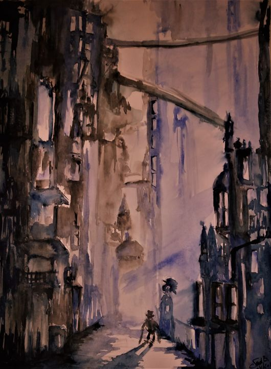 The old man is down the road... - Painting,  65x50x0.2 cm ©2019 by Benny Smet -                                                                                                                                                                                                Abstract Art, Expressionism, Figurative Art, Contemporary painting, Impressionism, Folk, Paper, Abstract Art, Architecture, Fantasy, Light, People, Cityscape, Cities, watercolor, original, art, cityscape, fantasy