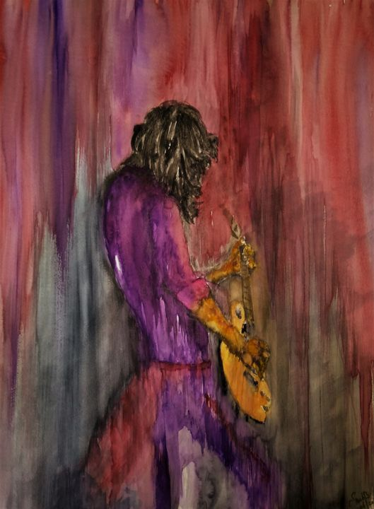 Since I've been loving you... - Painting,  25.6x19.7x0.4 in, ©2019 by Benny Smet -                                                                                                                                                                                                                                                                                                                                                                                                                                                                                                                                                                                          Abstract, abstract-570, Abstract Art, Culture, Music, Pop Culture / celebrity, original, watercolor, art, Jimmy Page, Led Zeppelin, guitar
