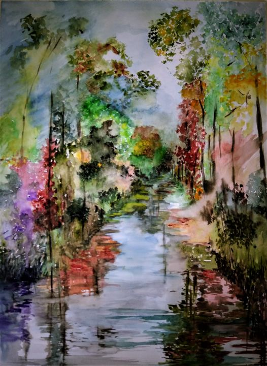 First autumn colors... - Painting,  25.6x19.7x0.1 in, ©2019 by Benny Smet -                                                                                                                                                                                                                                                                                                                                                                                                                                                                                                                                                                                          Expressionism, expressionism-591, Landscape, Nature, Tree, Water, watercolorart, Antwerpen, Sint-Job in't Goor, forest, autumn, colors