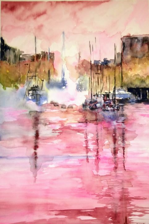 enjoy the silence... - Painting,  25.6x19.7x3.9 in, ©2019 by Benny Smet -                                                                                                                                                                                                                                                                                                                                                                                                                                                                                                                                              Abstract, abstract-570, Abstract Art, Boat, Fantasy, Sailboat, Ships, watercolorpainting, original, harbour, pink