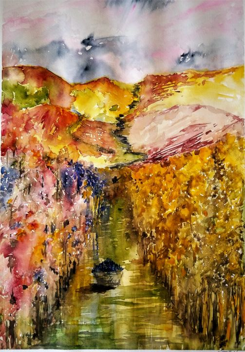 Autumn harvest... - Painting,  25.6x19.7x3.9 in, ©2019 by Benny Smet -                                                                                                                                                                                                                                                                                                                                                                                                                                                                                                                                                                                                                                                                                                                                                                                                                                                                  Abstract, abstract-570, Agriculture, Culture, Landscape, Nature, watercolorart, art, harvest, autumn, vineyard, germany, Moezel, grapes, leafs, yellow, red, brown