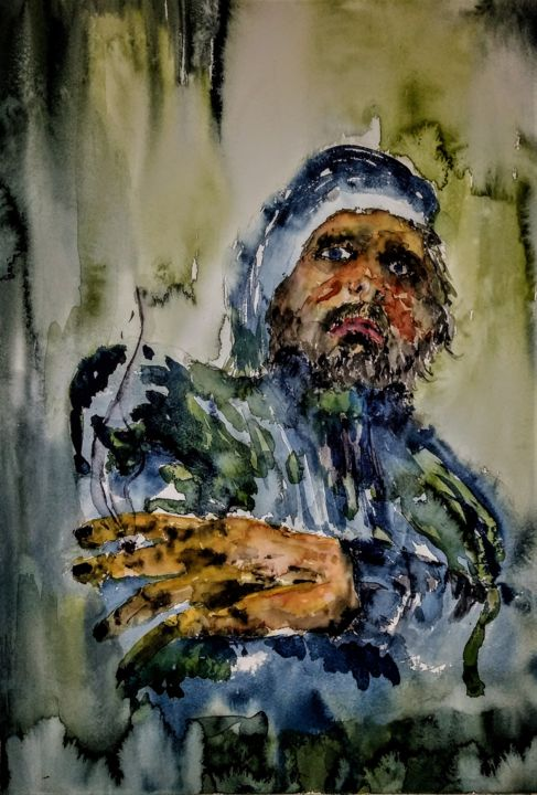 When darkness falls,he goes by the stars... - Painting,  23.6x15.8 in, ©2020 by Benny Smet -                                                                                                                                                                                                                                                                                                                                                                                                                                                                                                  Expressionism, expressionism-591, People, Portraits, watercolor, art, aquarel, portret, fisherman, sailor