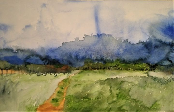 Tornado - Painting,  15.8x23.6 in, ©2020 by Benny Smet -                                                                                                                                                                                                                                                                                                                                                                                                                                                                                                                                                                                                                                      Impressionism, impressionism-603, Landscape, Nature, Places, Seasons, watercolor, art, aquarel, tornado, Hekelgem, Belgie, summer