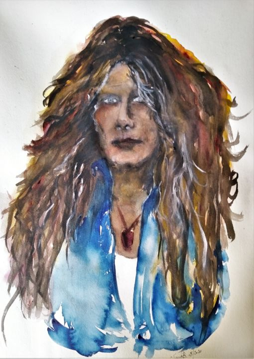 Cold sweat... - Painting,  23.6x15.8x0.4 in, ©2020 by Benny Smet -                                                                                                                                                                                                                                                                                                                                                                                                                                                                                                                                                                                          Figurative, figurative-594, Culture, Music, Pop Culture / celebrity, Portraits, Watercolor, aquarel, John Sykes, Thin Lizzy, Whitesnake, guitarplayer