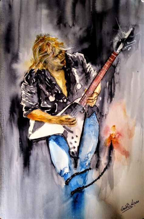 He's lost in time... - Painting,  23.6x15.8 in, ©2020 by Benny Smet -                                                                                                                                                                                                                                                                                                                                                                                                                                                                                                                                                                                                                                                                                                                              Expressionism, expressionism-591, Celebrity, Culture, History, Music, artwork_cat.Pop Culture / Celebrity, watercolor, art, aquarel, Michael Schenker, The Scorpions, UFO, MSG, guitargod