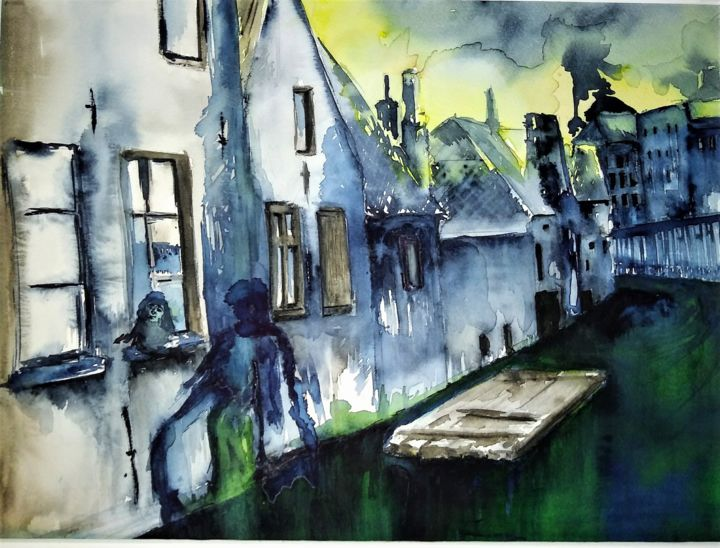 Vanished - Painting,  15.8x21.7 in, ©2020 by Benny Smet -                                                                                                                                                                                                                                                                                                                                                                                                                                                                                                  Figurative, figurative-594, Architecture, Cityscape, Culture, Water, watercolorart, aquarel, Gent, Meerhemkanaal