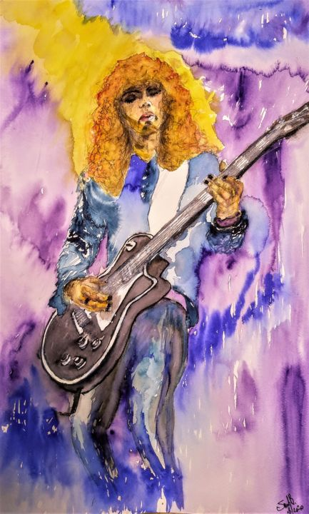 Robbo - Painting,  23.6x15.8 in, ©2020 by Benny Smet -                                                                                                                                                                                                                                                                                                                                                                                                                                                                                                                                                                                          Figurative, figurative-594, Culture, History, Music, Pop Culture / celebrity, Portraits, watercolorart, aquarel, Brian Robertson, Thin Lizzy, Motorhead