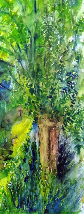 Willow - Painting,  23.6x9.8 in, ©2020 by Benny Smet -                                                                                                                                                                                                                                                                                                                                                              Illustration, illustration-600, Landscape, Tree, watercolorart, aquarel, willow