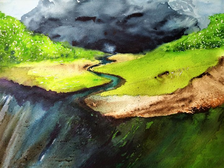 The earth makes his own ways... - Painting,  15.8x23.6 in, ©2020 by Benny Smet -                                                                                                                                                                                                                                                                                                                  Impressionism, impressionism-603, Landscape, watercolorart, aquarel, landscape