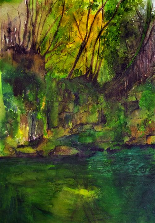 I'd rather be a forest than a street.... - Painting,  23.6x15.8 in, ©2020 by Benny Smet -                                                                                                                                                                                                                                                                                                                  Impressionism, impressionism-603, Landscape, watercolorart, aquarel, forest