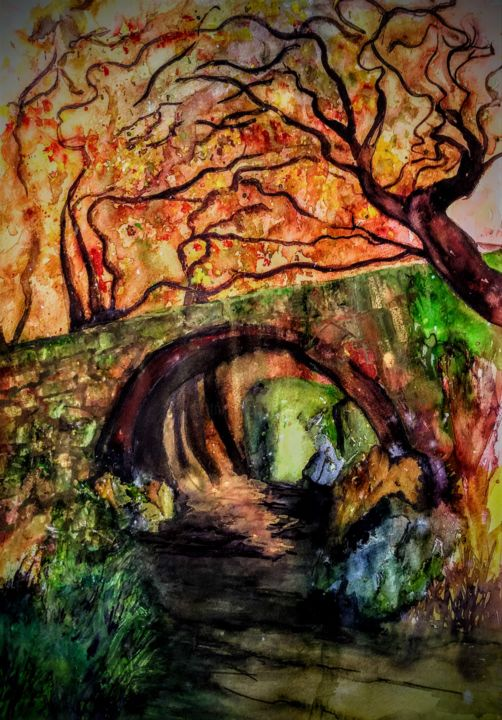 I went for a walk... - Painting,  23.6x15.8 in, ©2020 by Benny Smet -                                                                                                                                                                                                                                                                                                                                                                                                                                                                                                                                                                                          Expressionism, expressionism-591, Landscape, Nature, Seasons, Tree, watercolorart, aquarel, forest, bridge, autumn, september
