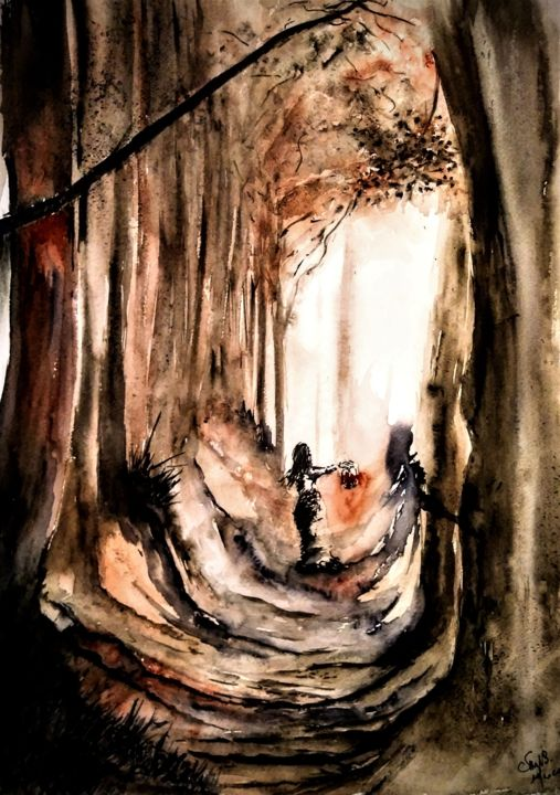 They only come out at night.... - Painting,  23.6x15.8 in, ©2020 by Benny Smet -                                                                                                                                                                                                                                                                                                                                                                                                          Figurative, figurative-594, artwork_cat.Dark-Fantasy, Tree, aquarel, watercolorart, forest, #artistssupportpledge
