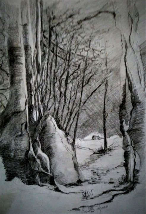 The dark road.... - Drawing,  15.8x11.8 in, ©2020 by Benny Smet -                                                                                                                                                                                                                                                                                                                                                                                                                                                                                                  Illustration, illustration-600, Black and White, Landscape, Nature, Seasons, Tree, winterlandscape, drawing, #artistssupportpledge