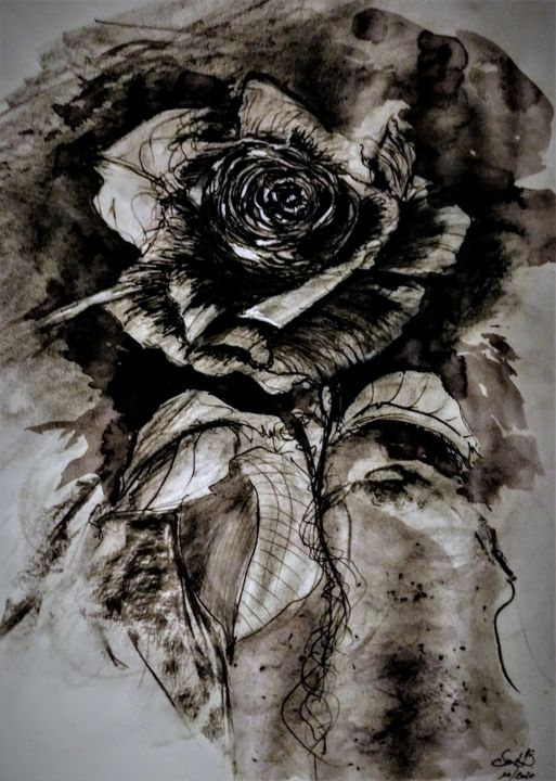 Tell me the legends of long ago... - Drawing,  25.6x19.7 in, ©2020 by Benny Smet -                                                                                                                                                                                                                                                                                                                                                                                                                                                                                                  Illustration, illustration-600, Black and White, Flower, rose, black rose, drawing, inkt, graphite, #artistssupportpledge