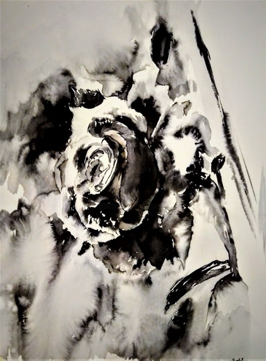 In the name of love... - Painting,  23.6x15.8 in, ©2020 by Benny Smet -                                                                                                                                                                                                                                                                                                                                                                                                                                                                                                  Expressionism, expressionism-591, Botanic, Flower, watercolor, aquarel, black rose, flower, bloem, #artistssupportpledge