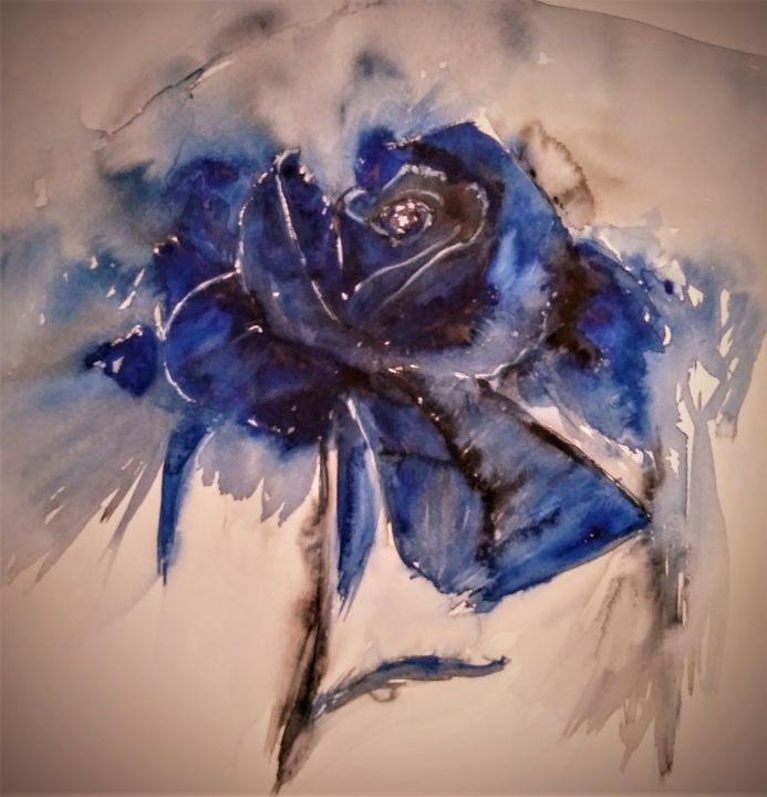 Royal - Painting,  15.8x15.8 in, ©2020 by Benny Smet -                                                                                                                                                                                                                                                                                                                                                                                                          Figurative, figurative-594, Flower, watercolor, aquarel, blue, rose, #artistssupportpledge