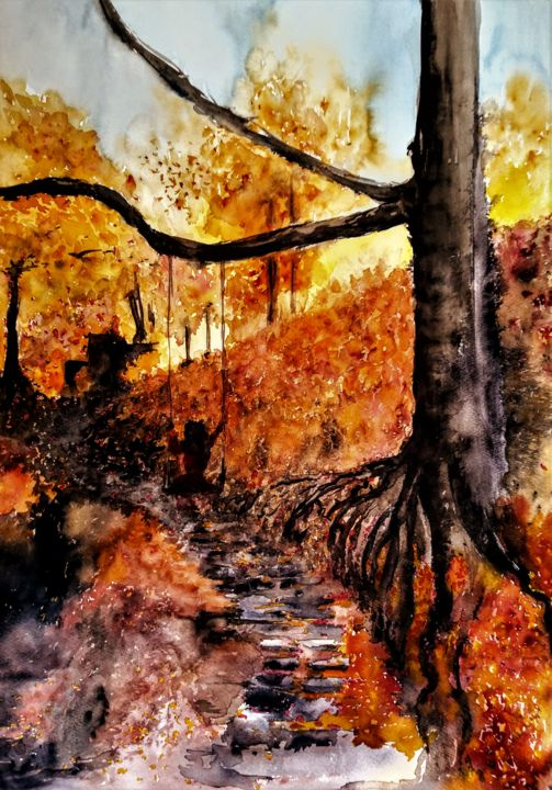 I'm like a bird... - Painting,  23.6x15.8 in, ©2020 by Benny Smet -                                                                                                                                                                                                                                                                                                                                                                                                                                                                                                                                                                                          Figurative, figurative-594, Landscape, Nature, Rural life, Seasons, watercolors, art, aquarel, autumn, landscape, #artistsupportpledge