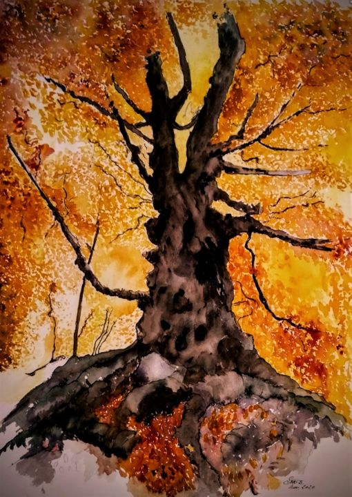 Desperado - © 2020 watercolor, art, aquarel, tree, autumn Online Artworks