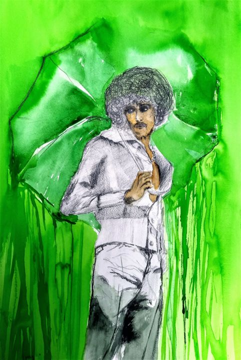 Still in love with... - Painting,  19.7x13.8 in, ©2020 by Benny Smet -                                                                                                                                                                                                                                                                                                                                                                                                                                                                                                                                              Figurative, figurative-594, Celebrity, Culture, Music, artwork_cat.Pop Culture / Celebrity, Portraits, watercolourart, drawing, Phil Lynott, Thin Lizzy
