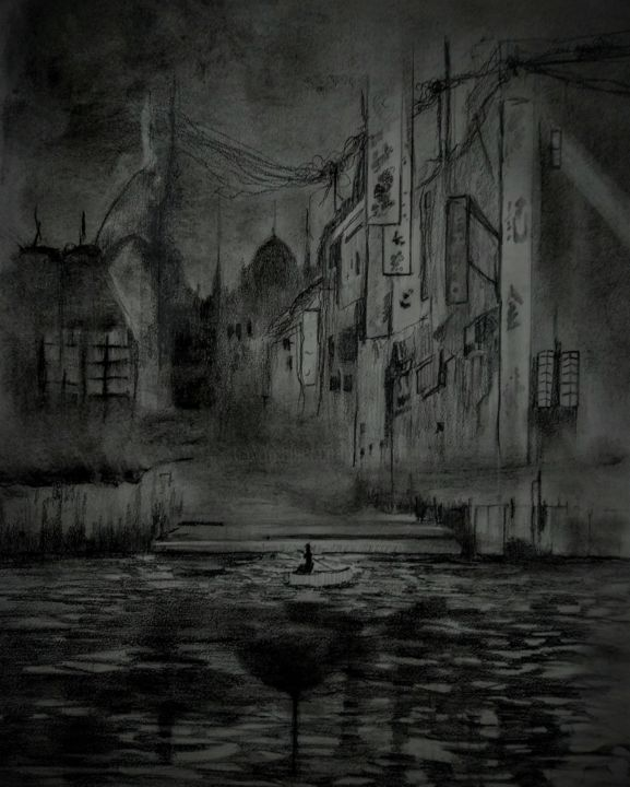 Should I stay or should I go. - Drawing,  25.6x19.7 in, ©2020 by Benny Smet -                                                                                                                                                                                                                                                                                                                                                                                                                                                                                                  Illustration, illustration-600, Architecture, Black and White, Boat, artwork_cat.Cities, artwork_cat.Dark-Fantasy, drawing, darkart, charcoal
