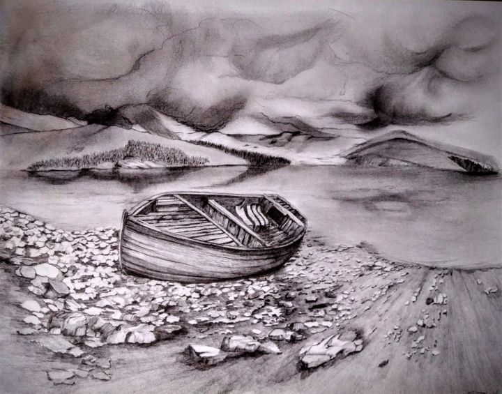 A deeper shade of soul... - Drawing,  19.7x25.6 in, ©2020 by Benny Smet -                                                                                                                                                                                                                                                                                                              Illustration, illustration-600, Drawing, landscape, mountainscape, seascape
