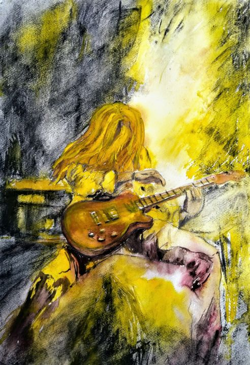 Massacre... - Painting,  21.7x15.8 in, ©2020 by Benny Smet -                                                                                                                                                                                                                                                                                                              Figurative, figurative-594, scott gorham, guitar, thin lizzy, painting