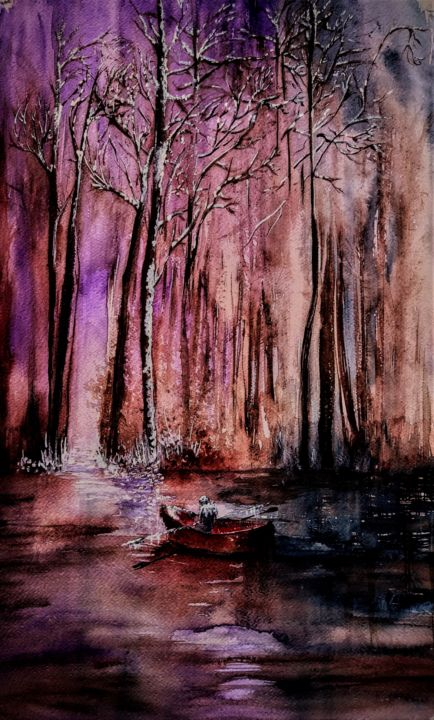 It's a long,long road with no return... - Painting,  21.7x13.8 in, ©2020 by Benny Smet -                                                                                                                                                                                                                                                                                                                                                                                                                                                  Impressionism, impressionism-603, watercolor, art, forest, river, boat, winter, snow