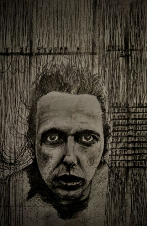 London calling to the underworld... - Drawing,  23.6x15.8 in, ©2021 by Benny Smet -                                                                                                                                                                                                                                                                                                                                                                                                      Figurative, figurative-594, Drawing, Joe Strummer, The Clash, London Calling, darkart, portrait