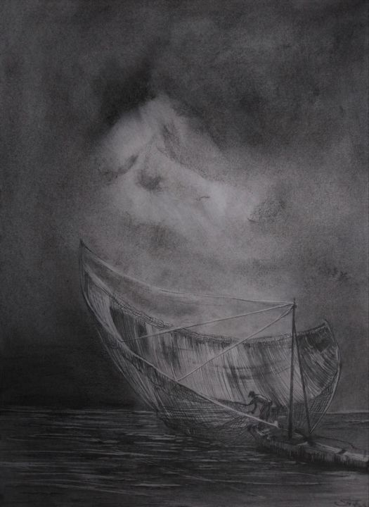 Fishing boat - Drawing,  23.6x15.8 in, ©2021 by Benny Smet -                                                                                                                                                                                                                                                                                                                                                                                                      Figurative, figurative-594, drawing, fishingboat, seascape, evening, charcoal, graphite