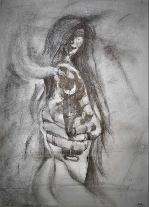 Stand and deliver or the devil he may take ya - Drawing,  23.6x15.8 in, ©2021 by Benny Smet -                                                                                                                                                                                                                                                                                                                                                          Figurative, figurative-594, drawing, charcoal, graphite, girls with guns, smoking gun