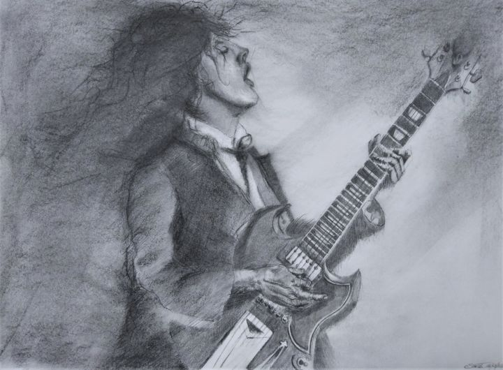 """Drawing titled """"Ride on..."""" by Benny Smet, Original Art, Charcoal"""