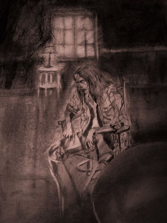 """Drawing titled """"Down by the river,I…"""" by Benny Smet, Original Art, Graphite"""